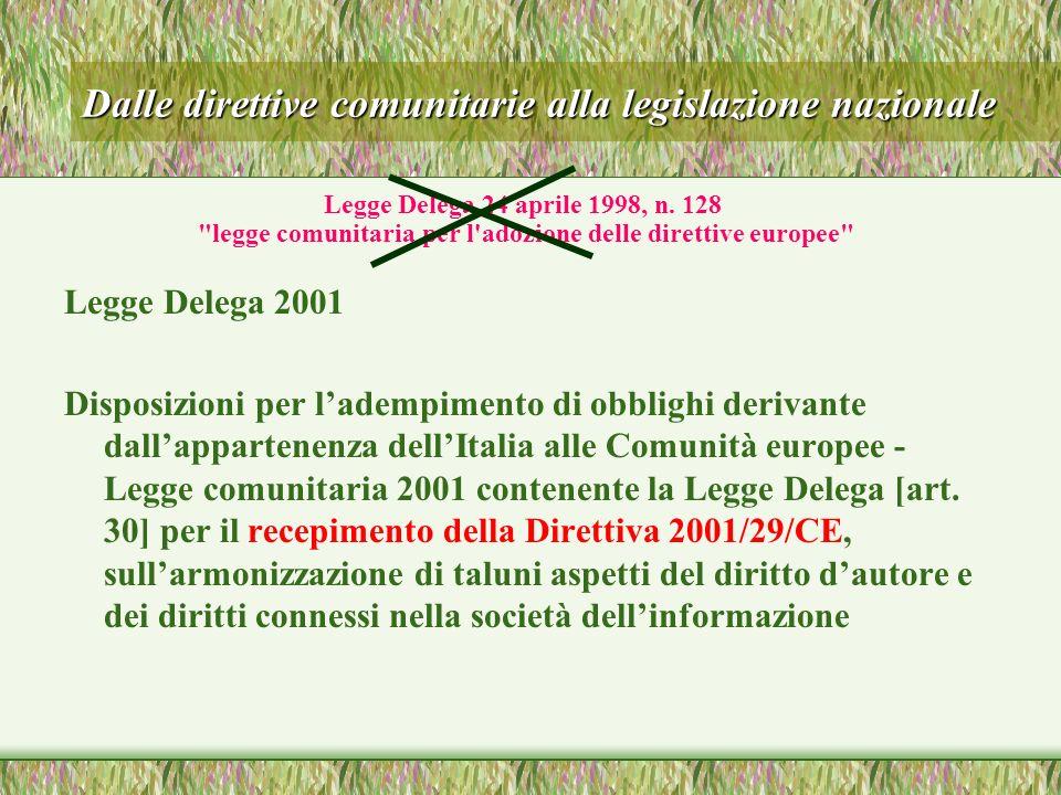 Dalle direttive comunitarie alla legislazione nazionale Legge Delega 2001 Disposizioni per ladempimento di obblighi derivante dallappartenenza dellItalia alle Comunità europee - Legge comunitaria 2001 contenente la Legge Delega [art.