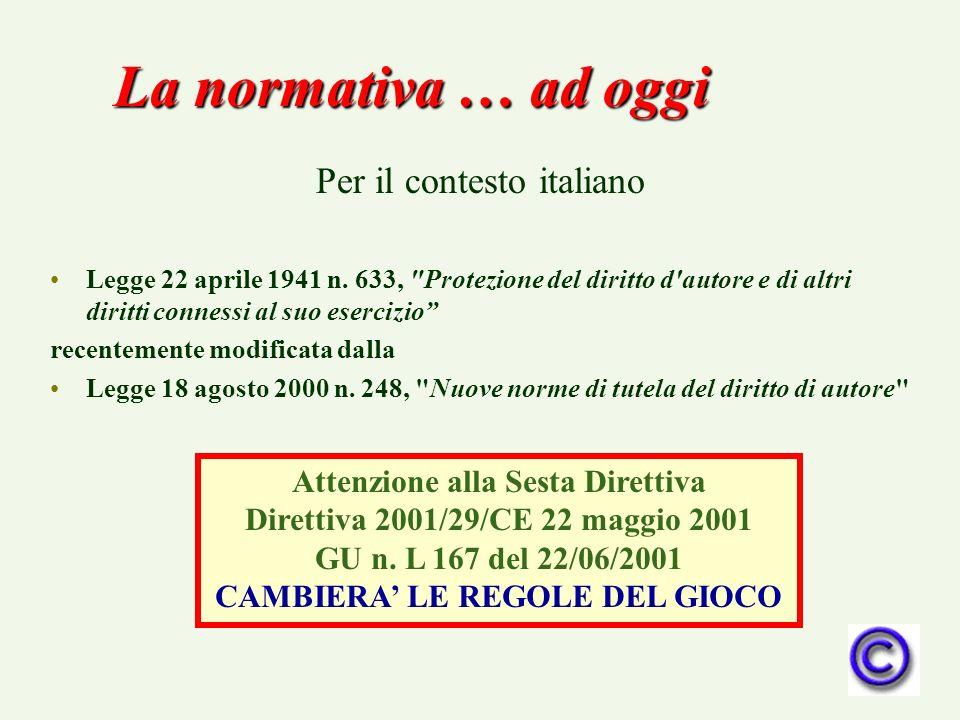 La normativa … ad oggi Per il contesto italiano Legge 22 aprile 1941 n. 633,