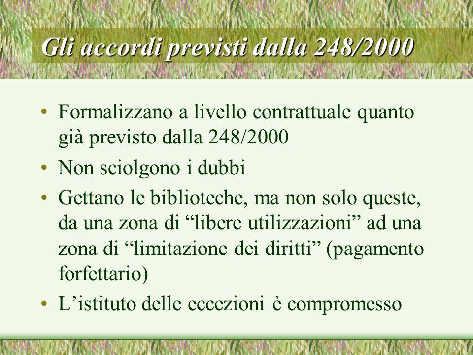 Gli accordi previsti dalla 248/2000 Formalizzano a livello contrattuale quanto già previsto dalla 248/2000 Non sciolgono i dubbi Gettano le bibliotech
