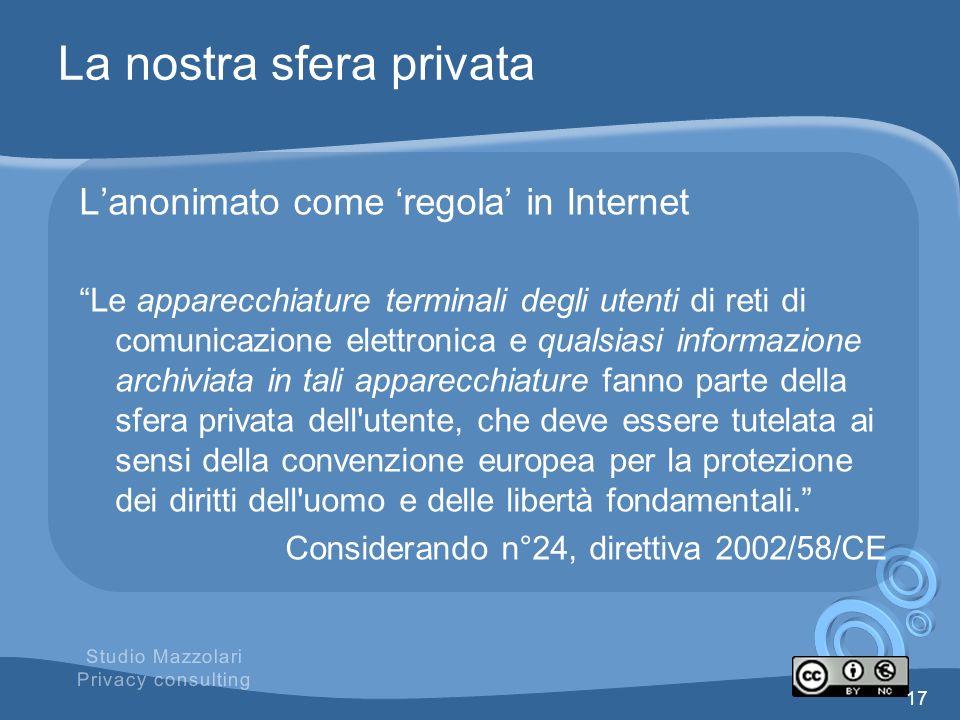 La nostra sfera privata Lanonimato come regola in Internet Le apparecchiature terminali degli utenti di reti di comunicazione elettronica e qualsiasi