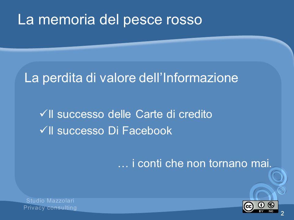 La memoria del pesce rosso La perdita di valore dellInformazione Il successo delle Carte di credito Il successo Di Facebook … i conti che non tornano