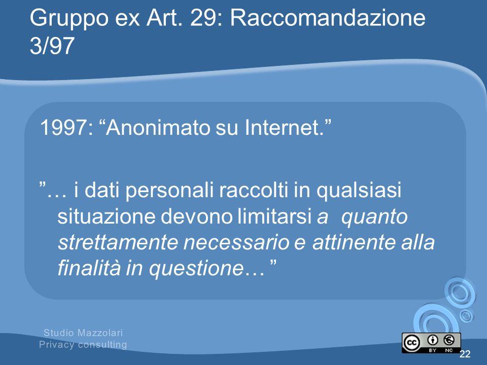 Gruppo ex Art. 29: Raccomandazione 3/97 1997: Anonimato su Internet. … i dati personali raccolti in qualsiasi situazione devono limitarsi a quanto str