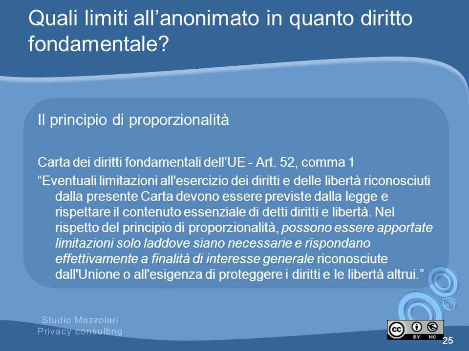 Quali limiti allanonimato in quanto diritto fondamentale? Il principio di proporzionalità Carta dei diritti fondamentali dellUE - Art. 52, comma 1 Eve