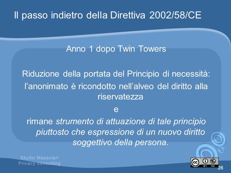 Il passo indietro della Direttiva 2002/58/CE Anno 1 dopo Twin Towers Riduzione della portata del Principio di necessità: lanonimato è ricondotto nella