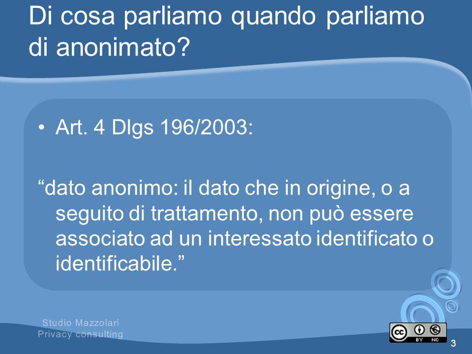 Di cosa parliamo quando parliamo di anonimato? Art. 4 Dlgs 196/2003: dato anonimo: il dato che in origine, o a seguito di trattamento, non può essere