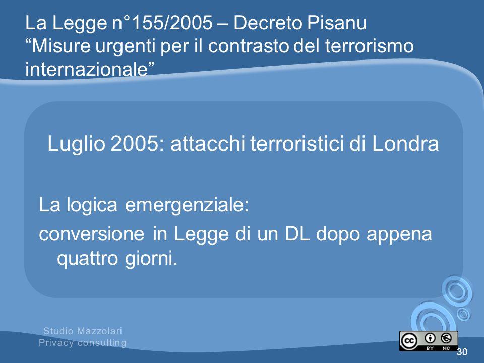 La Legge n°155/2005 – Decreto Pisanu Misure urgenti per il contrasto del terrorismo internazionale Luglio 2005: attacchi terroristici di Londra La log