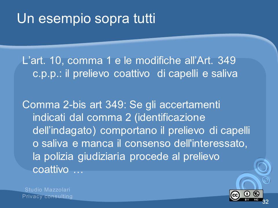 Un esempio sopra tutti Lart. 10, comma 1 e le modifiche allArt. 349 c.p.p.: il prelievo coattivo di capelli e saliva Comma 2-bis art 349: Se gli accer