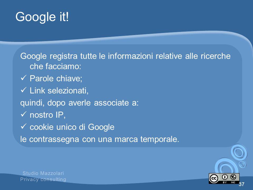 Google it! Google registra tutte le informazioni relative alle ricerche che facciamo: Parole chiave; Link selezionati, quindi, dopo averle associate a