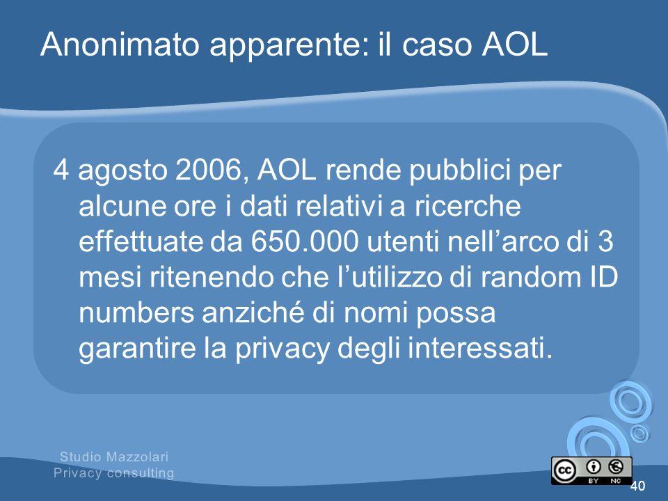 Anonimato apparente: il caso AOL 4 agosto 2006, AOL rende pubblici per alcune ore i dati relativi a ricerche effettuate da 650.000 utenti nellarco di