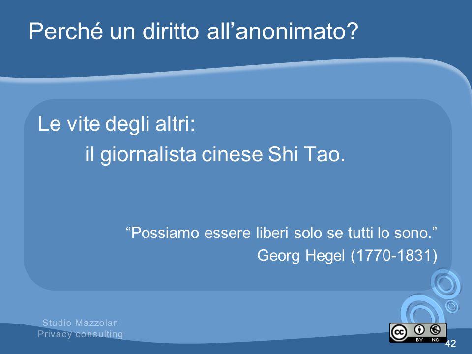 Perché un diritto allanonimato? Le vite degli altri: il giornalista cinese Shi Tao. Possiamo essere liberi solo se tutti lo sono. Georg Hegel (1770-18