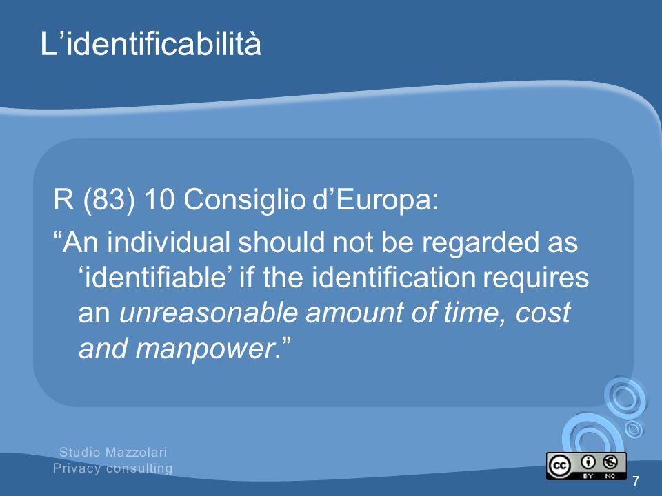 Il Criterio della ragionevolezza Le condizioni dellanonimato sono, dunque relative Tecnologia disponibile; Finalità e modalità in cui è strutturato il trattamento; Costi delloperazione.