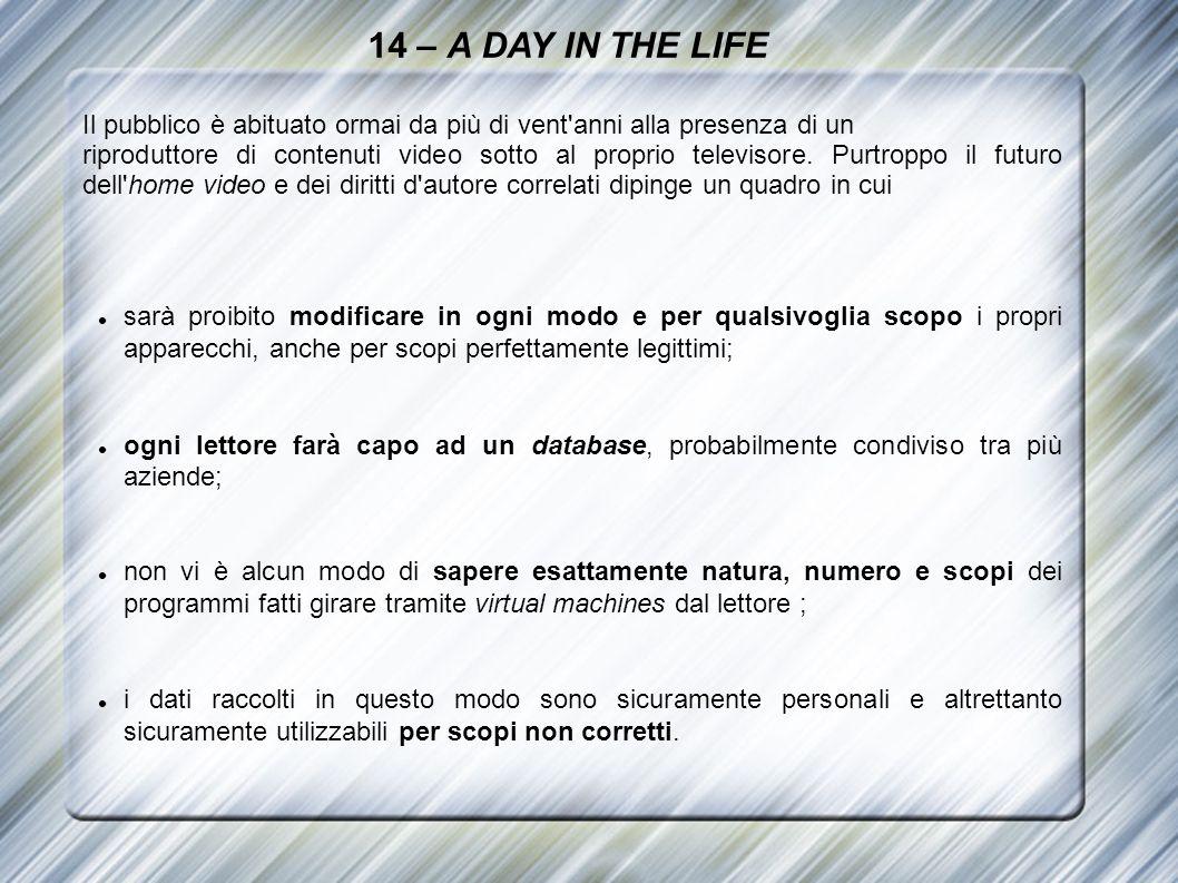 14 – A DAY IN THE LIFE Il pubblico è abituato ormai da più di vent'anni alla presenza di un riproduttore di contenuti video sotto al proprio televisor