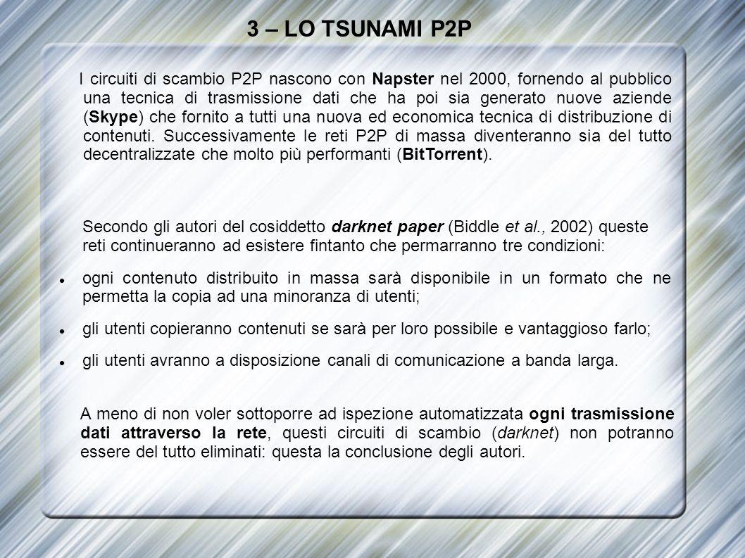 3 – LO TSUNAMI P2P I circuiti di scambio P2P nascono con Napster nel 2000, fornendo al pubblico una tecnica di trasmissione dati che ha poi sia genera