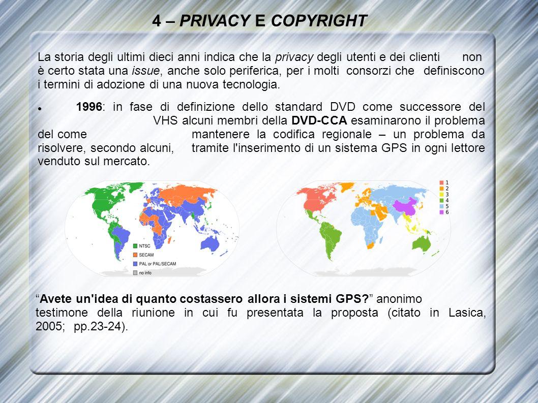 4 – PRIVACY E COPYRIGHT La storia degli ultimi dieci anni indica che la privacy degli utenti e dei clienti non è certo stata una issue, anche solo per