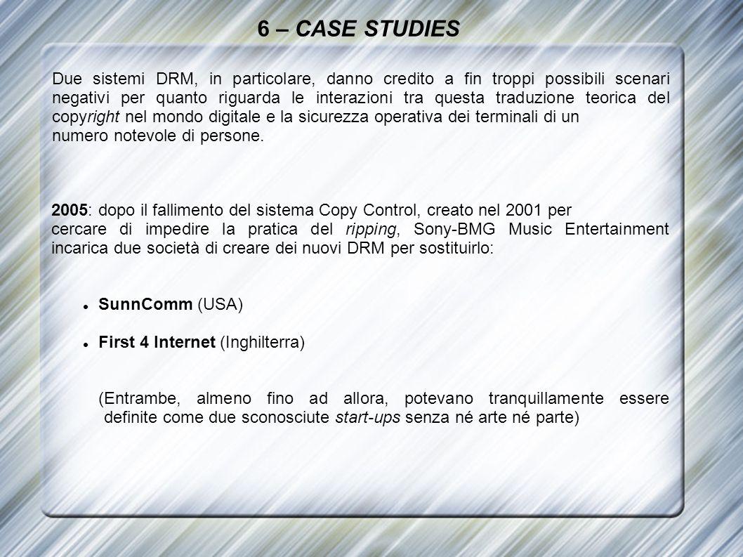 6 – CASE STUDIES Due sistemi DRM, in particolare, danno credito a fin troppi possibili scenari negativi per quanto riguarda le interazioni tra questa