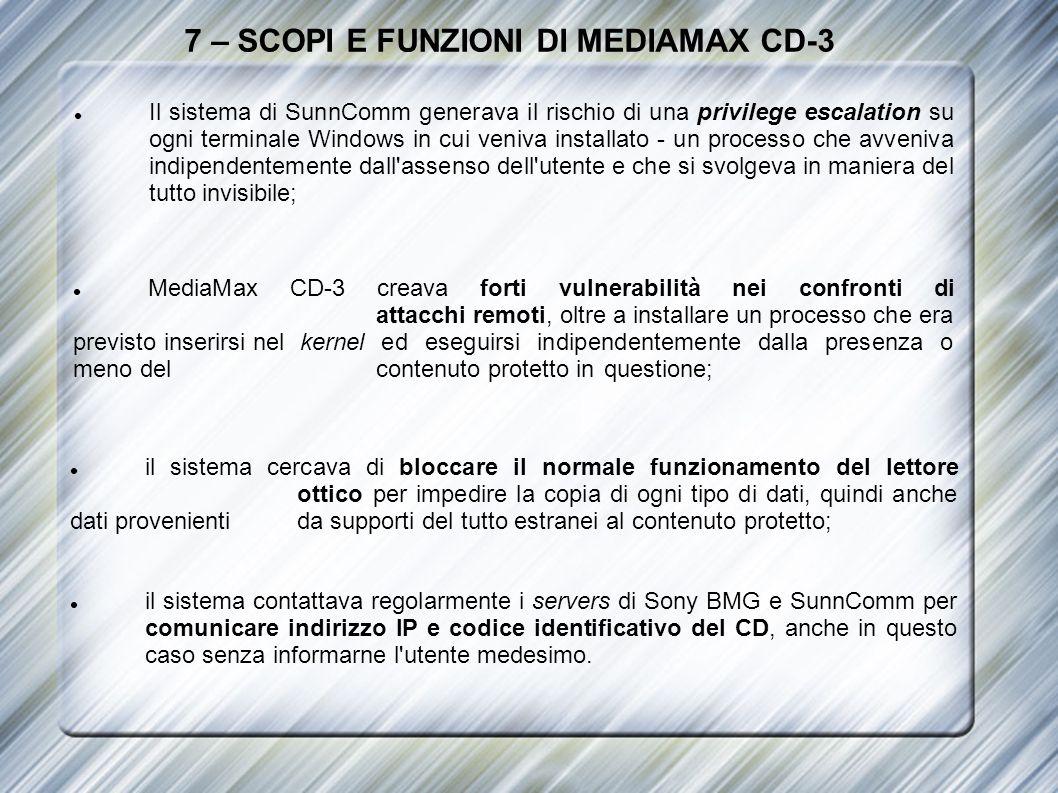 7 – SCOPI E FUNZIONI DI MEDIAMAX CD-3 Il sistema di SunnComm generava il rischio di una privilege escalation su ogni terminale Windows in cui veniva i