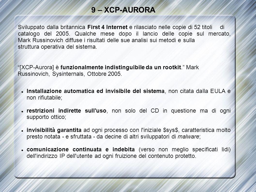 9 – XCP-AURORA Sviluppato dalla britannica First 4 Internet e rilasciato nelle copie di 52 titoli di catalogo del 2005. Qualche mese dopo il lancio de