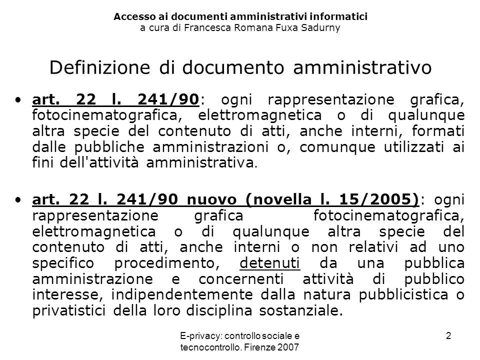 E-privacy: controllo sociale e tecnocontrollo. Firenze 2007 2 Accesso ai documenti amministrativi informatici a cura di Francesca Romana Fuxa Sadurny