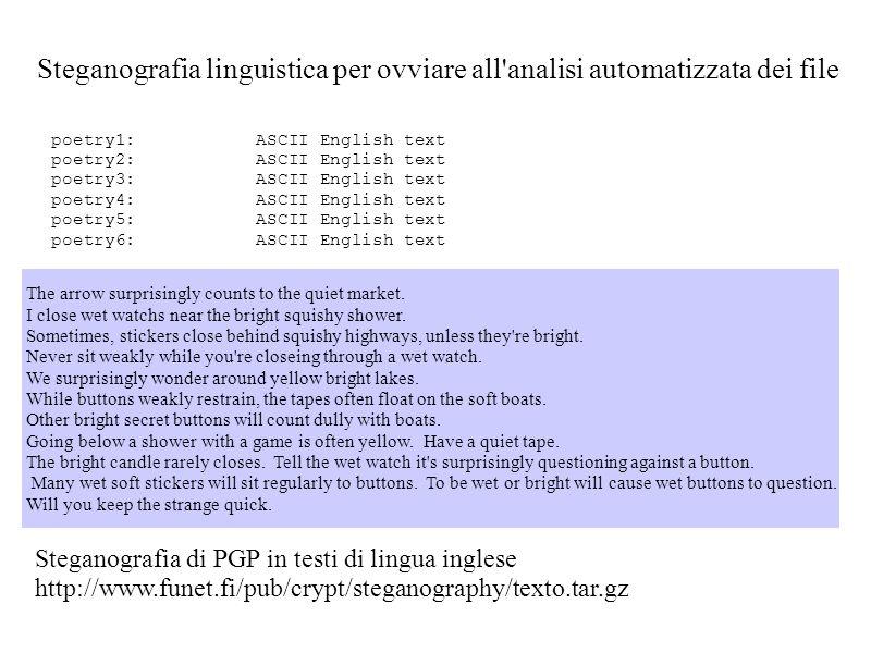Steganografia linguistica per ovviare all'analisi automatizzata dei file Steganografia di PGP in testi di lingua inglese http://www.funet.fi/pub/crypt