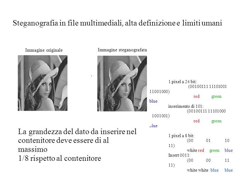 Steganografia in file multimediali, alta definizione e limiti umani La grandezza del dato da inserire nel contenitore deve essere di al massimo 1/8 rispetto al contenitore 1 pixel a 24 bit: (00100111 11101001 11001000) red green blue inserimento di 101: (00100111 11101000 11001001) red green blue 1 pixel a 8 bit: (000110 11) white red green blue Insert 0011: (00 00 11 11) white white blue blue Immagine originale Immagine steganografata