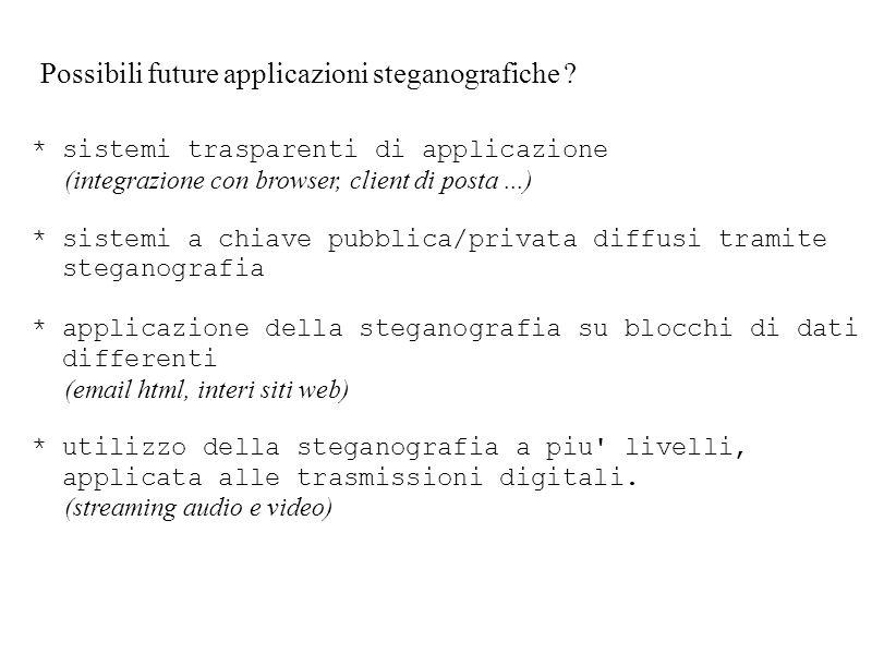 Possibili future applicazioni steganografiche ? * sistemi trasparenti di applicazione (integrazione con browser, client di posta...) * sistemi a chiav