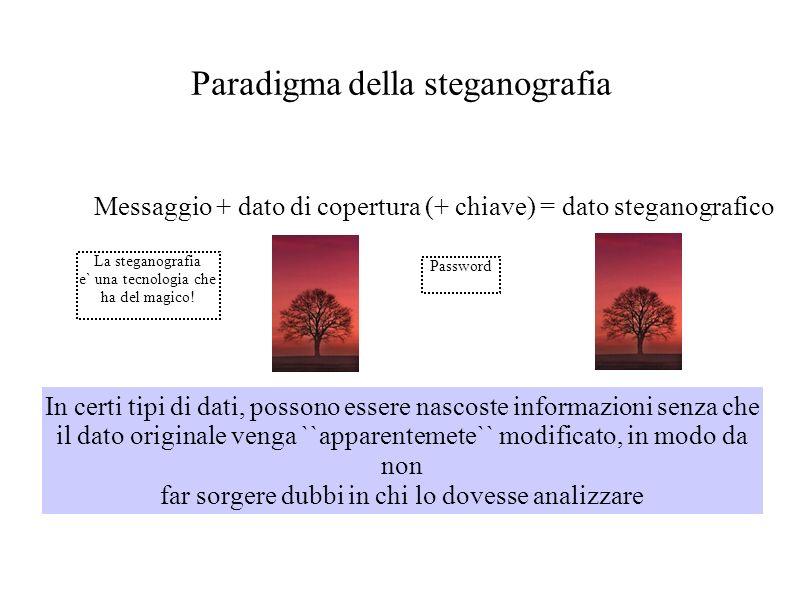 Paradigma della steganografia Messaggio + dato di copertura (+ chiave) = dato steganografico In certi tipi di dati, possono essere nascoste informazio