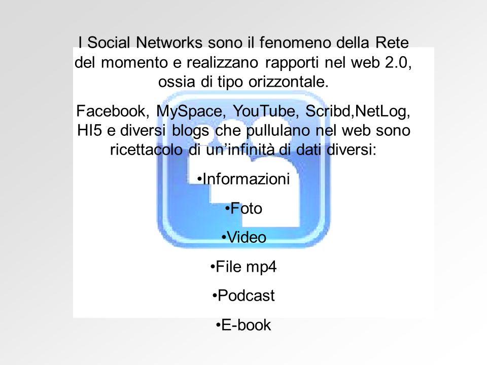 I Social Networks sono il fenomeno della Rete del momento e realizzano rapporti nel web 2.0, ossia di tipo orizzontale.