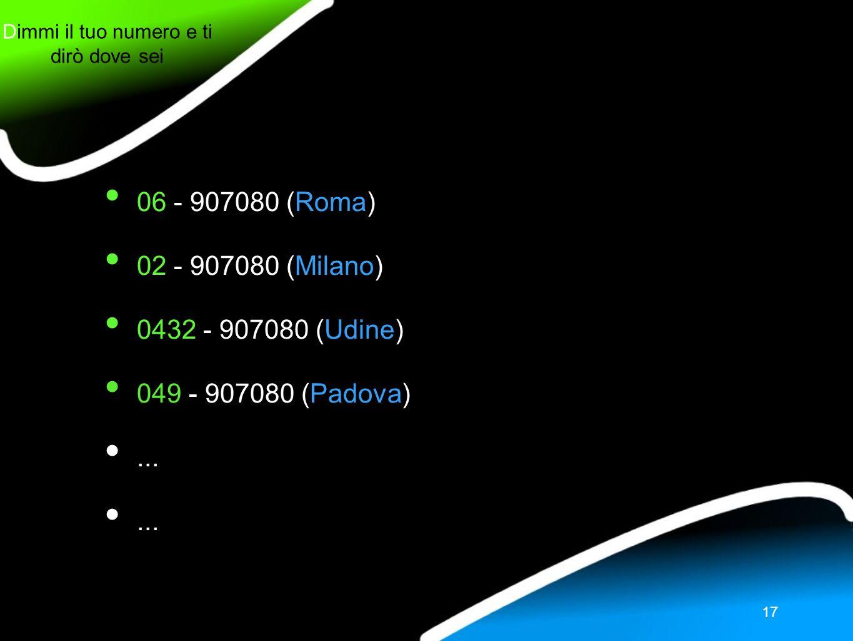 Dimmi il tuo numero e ti dirò dove sei 17 06 - 907080 (Roma) 02 - 907080 (Milano) 0432 - 907080 (Udine) 049 - 907080 (Padova)...