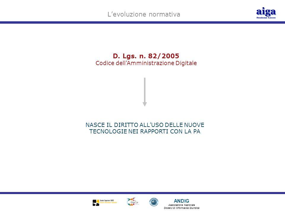 ANDIG Associazione Nazionale Docenti di Informatica Giuridica D. Lgs. n. 82/2005 Codice dellAmministrazione Digitale Levoluzione normativa NASCE IL DI