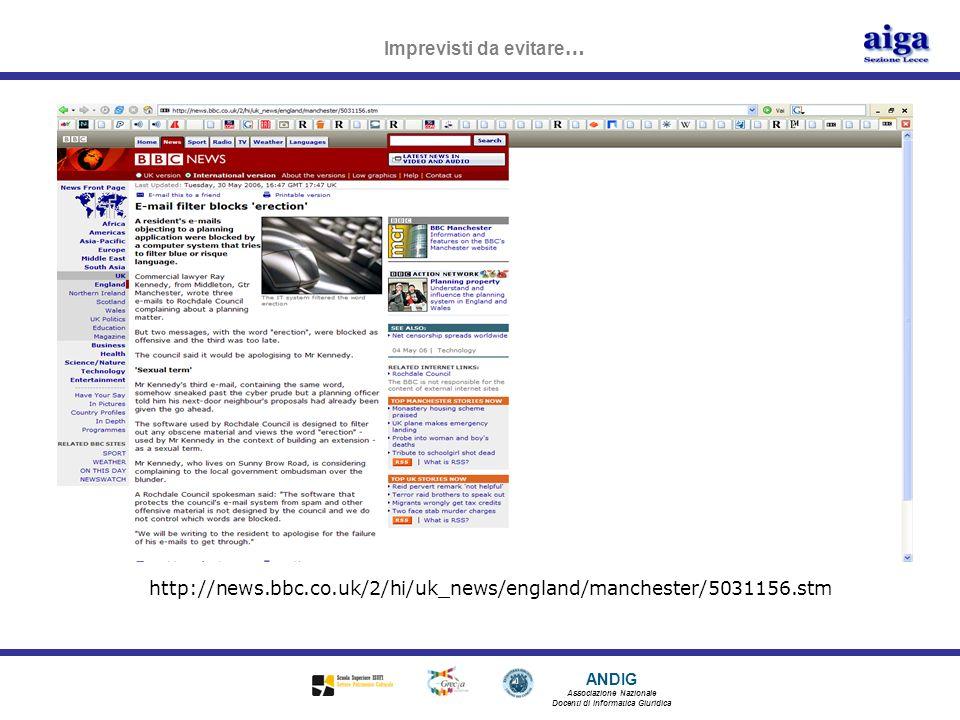 ANDIG Associazione Nazionale Docenti di Informatica Giuridica Imprevisti da evitare … http://news.bbc.co.uk/2/hi/uk_news/england/manchester/5031156.st