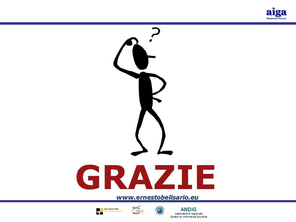 ANDIG Associazione Nazionale Docenti di Informatica Giuridica GRAZIE www.ernestobelisario.eu