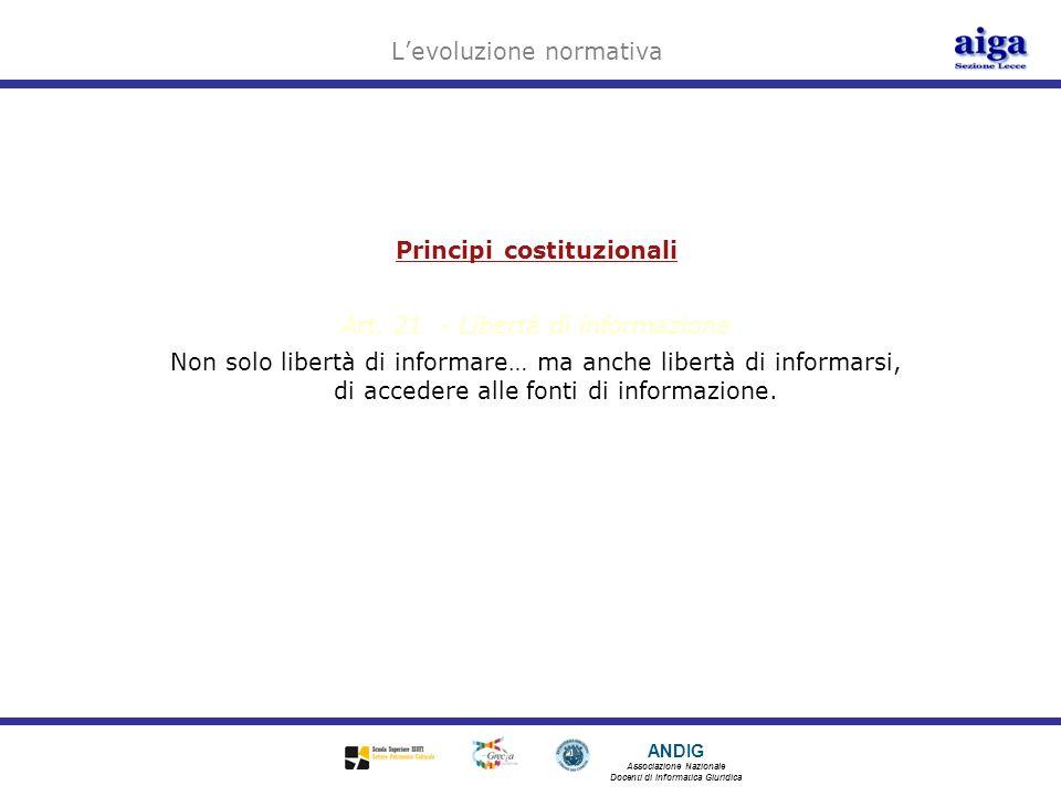 ANDIG Associazione Nazionale Docenti di Informatica Giuridica Levoluzione normativa Principi costituzionali Art. 21 - Libertà di informazione Non solo