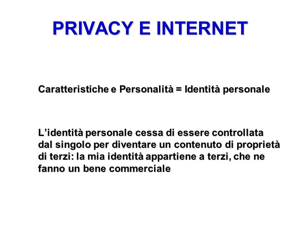 PRIVACY E INTERNET Caratteristiche e Personalità = Identità personale Lidentità personale cessa di essere controllata dal singolo per diventare un con