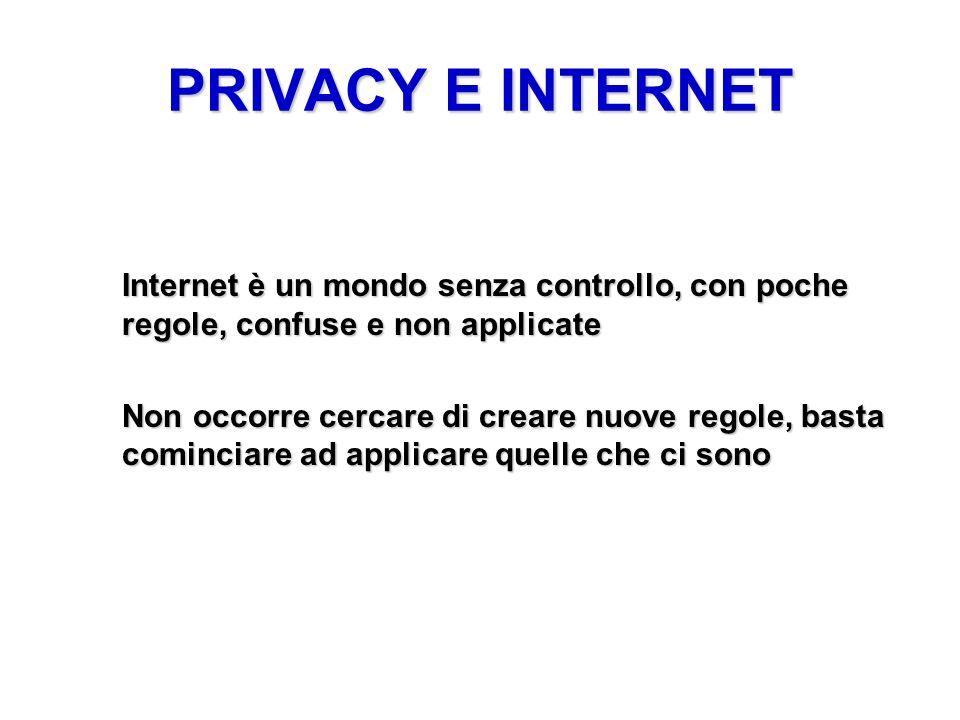 PRIVACY E INTERNET Internet è un mondo senza controllo, con poche regole, confuse e non applicate Non occorre cercare di creare nuove regole, basta co
