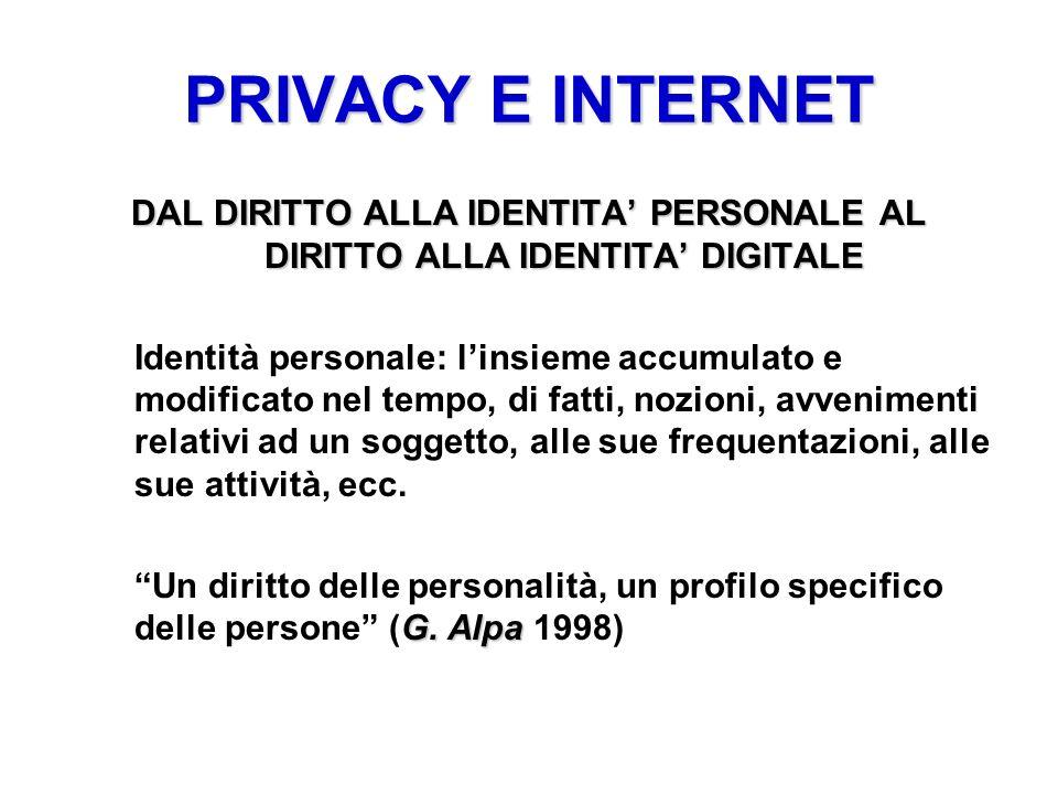 PRIVACY E INTERNET DAL DIRITTO ALLA IDENTITA PERSONALE AL DIRITTO ALLA IDENTITA DIGITALE Identità personale: linsieme accumulato e modificato nel temp