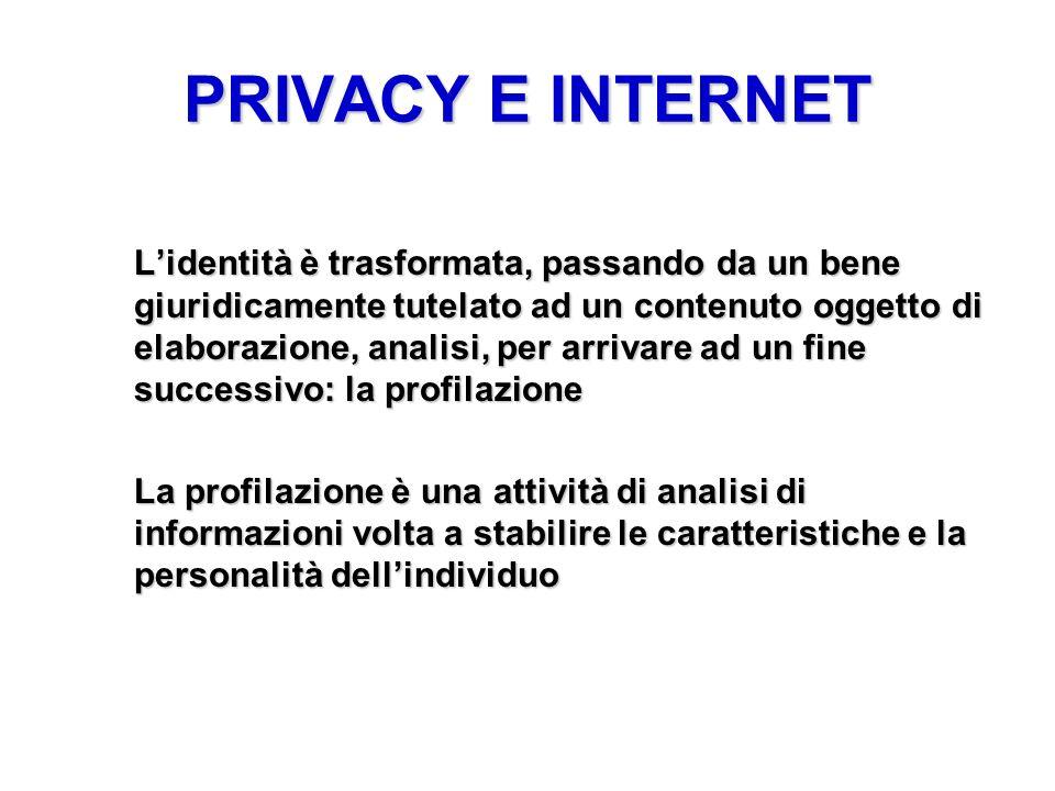 PRIVACY E INTERNET Lidentità è trasformata, passando da un bene giuridicamente tutelato ad un contenuto oggetto di elaborazione, analisi, per arrivare