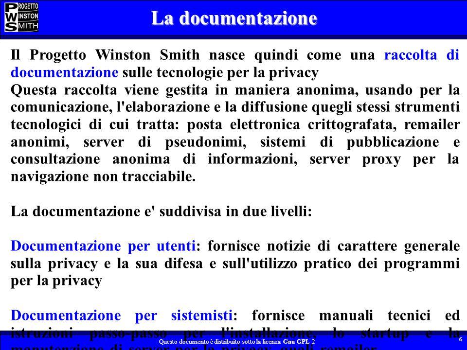 Questo documento è distribuito sotto la licenza Gnu GPL 2 6 Il Progetto Winston Smith nasce quindi come una raccolta di documentazione sulle tecnologi