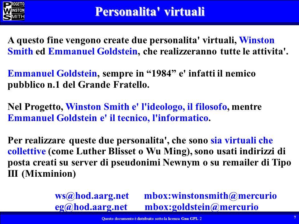Questo documento è distribuito sotto la licenza Gnu GPL 2 7 A questo fine vengono create due personalita virtuali, Winston Smith ed Emmanuel Goldstein, che realizzeranno tutte le attivita .