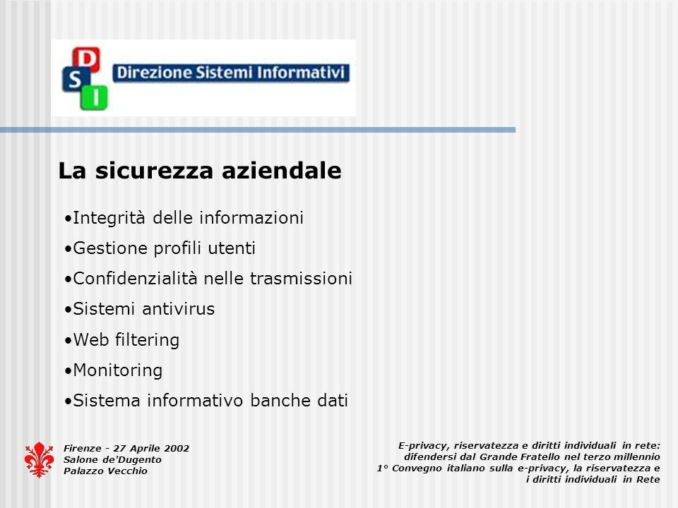Firenze - 27 Aprile 2002 Salone de'Dugento Palazzo Vecchio E-privacy, riservatezza e diritti individuali in rete: difendersi dal Grande Fratello nel t