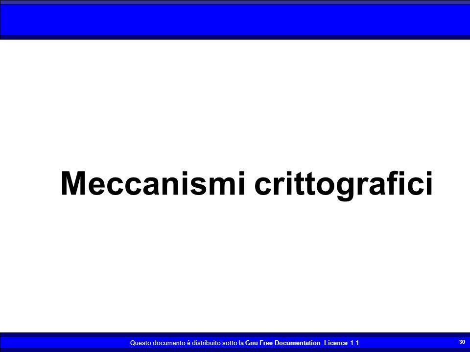 Questo documento è distribuito sotto la Gnu Free Documentation Licence 1.1 30 Meccanismi crittografici