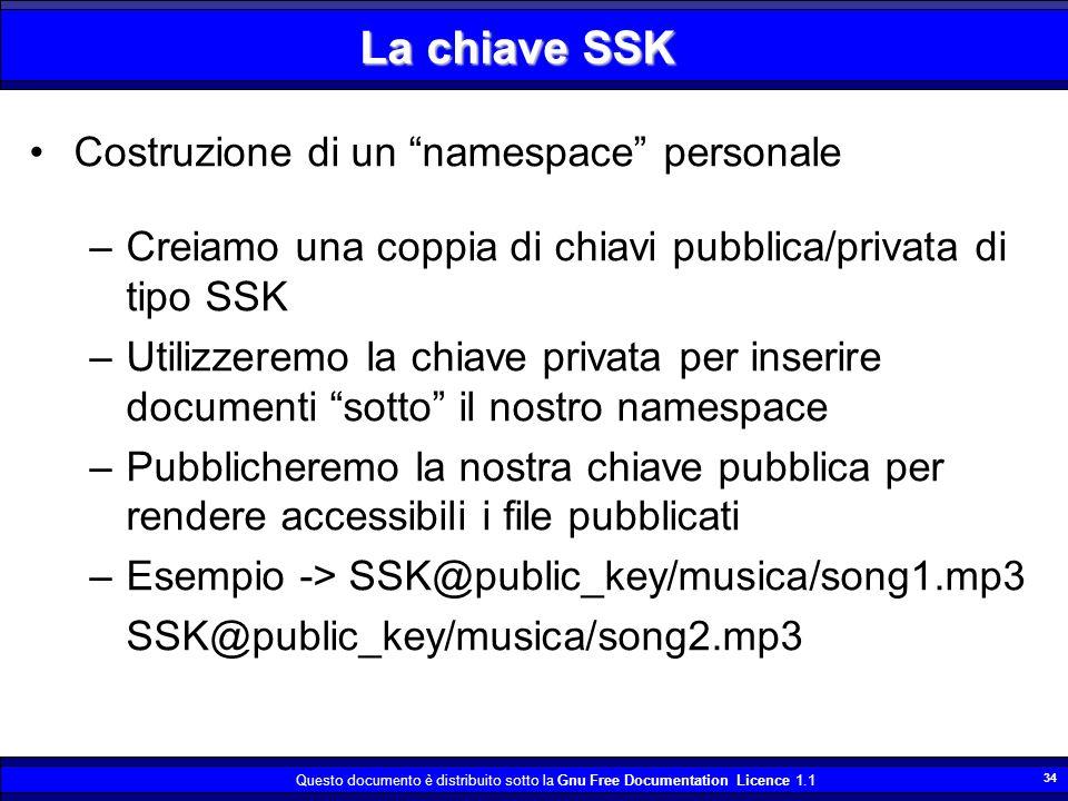 Questo documento è distribuito sotto la Gnu Free Documentation Licence 1.1 34 La chiave SSK Costruzione di un namespace personale –Creiamo una coppia di chiavi pubblica/privata di tipo SSK –Utilizzeremo la chiave privata per inserire documenti sotto il nostro namespace –Pubblicheremo la nostra chiave pubblica per rendere accessibili i file pubblicati –Esempio -> SSK@public_key/musica/song1.mp3 SSK@public_key/musica/song2.mp3