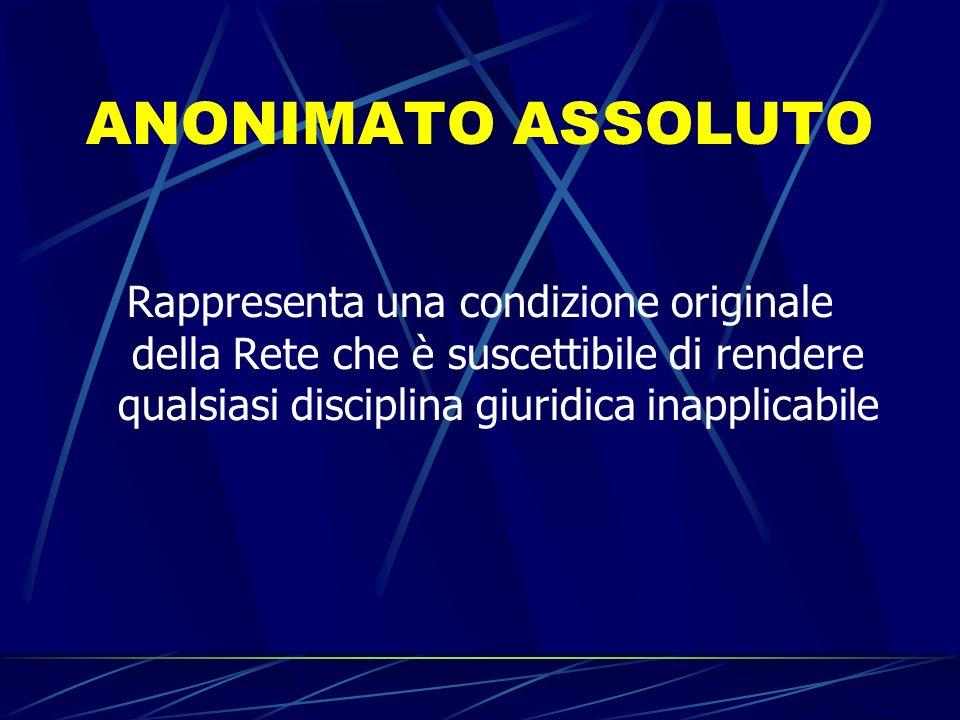 ANONIMATO ASSOLUTO Rappresenta una condizione originale della Rete che è suscettibile di rendere qualsiasi disciplina giuridica inapplicabile