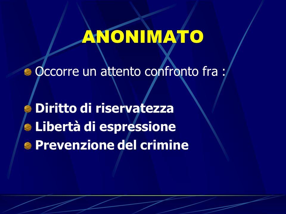 ANONIMATO Occorre un attento confronto fra : Diritto di riservatezza Libertà di espressione Prevenzione del crimine
