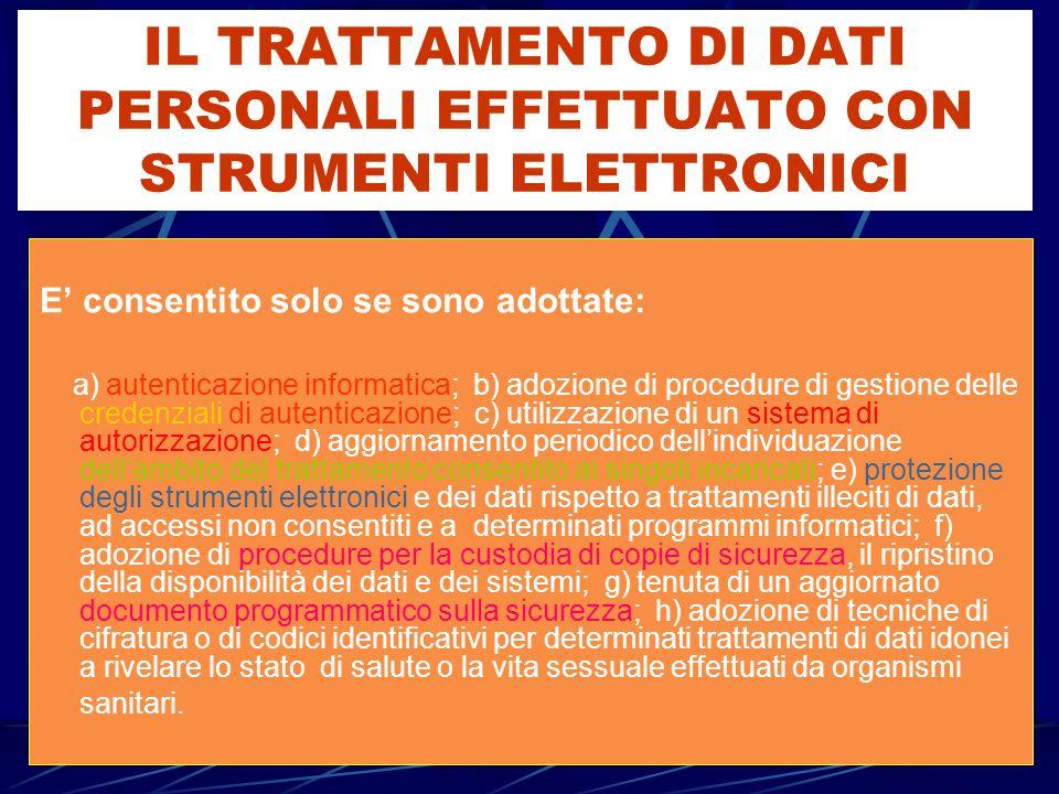 IL TRATTAMENTO DI DATI PERSONALI EFFETTUATO CON STRUMENTI ELETTRONICI E consentito solo se sono adottate: a) autenticazione informatica; b) adozione d