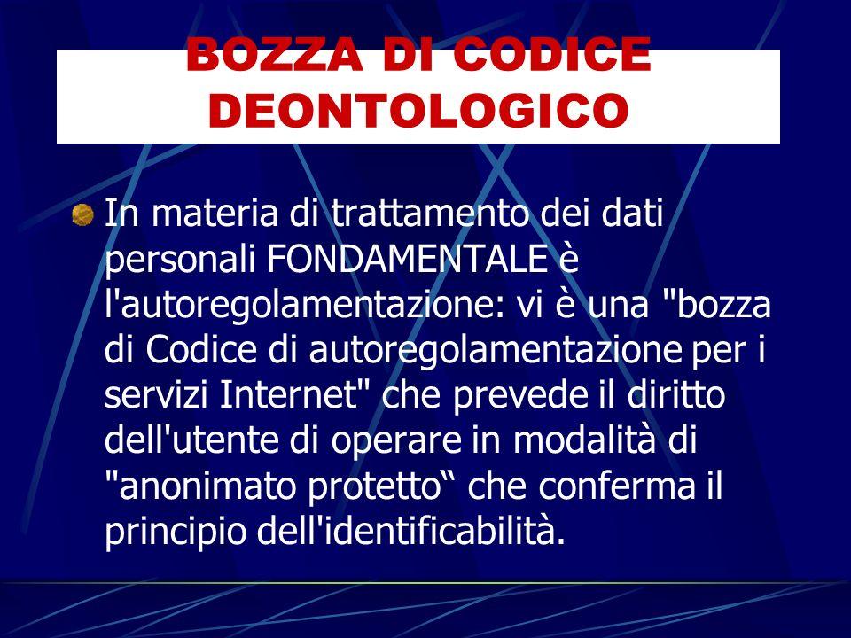 In materia di trattamento dei dati personali FONDAMENTALE è l autoregolamentazione: vi è una bozza di Codice di autoregolamentazione per i servizi Internet che prevede il diritto dell utente di operare in modalità di anonimato protetto che conferma il principio dell identificabilità.