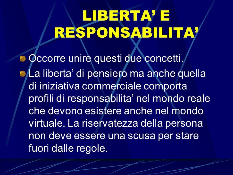 LIBERTA E RESPONSABILITA Occorre unire questi due concetti. La liberta di pensiero ma anche quella di iniziativa commerciale comporta profili di respo