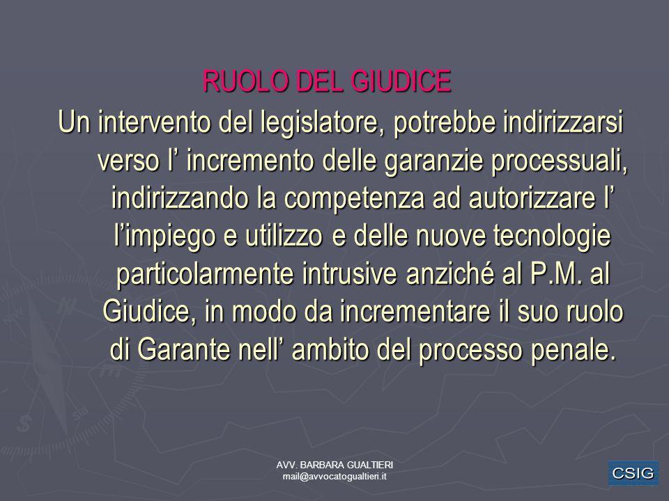 AVV. BARBARA GUALTIERI mail@avvocatogualtieri.it RUOLO DEL GIUDICE Un intervento del legislatore, potrebbe indirizzarsi verso l incremento delle garan