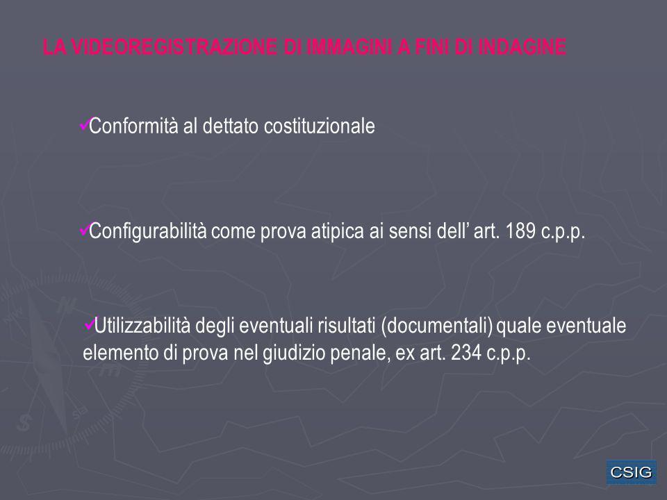 LA VIDEOREGISTRAZIONE DI IMMAGINI A FINI DI INDAGINE Conformità al dettato costituzionale Utilizzabilità degli eventuali risultati (documentali) quale