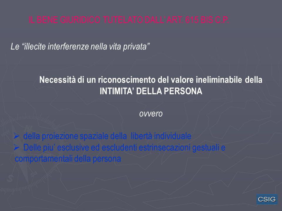 IL BENE GIURIDICO TUTELATO DALL ART. 615 BIS C.P. Necessità di un riconoscimento del valore ineliminabile della INTIMITA DELLA PERSONA ovvero della pr
