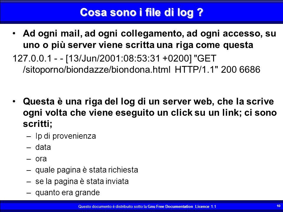 Questo documento è distribuito sotto la Gnu Free Documentation Licence 1.1 10 Cosa sono i file di log ? Ad ogni mail, ad ogni collegamento, ad ogni ac